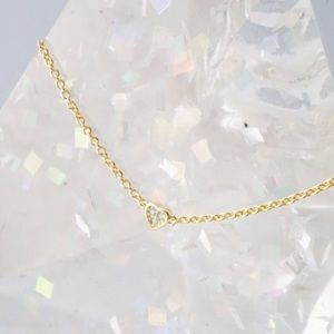 Jewelry - Dainty Yellow Gold Micro Pave CZ Heart Choker